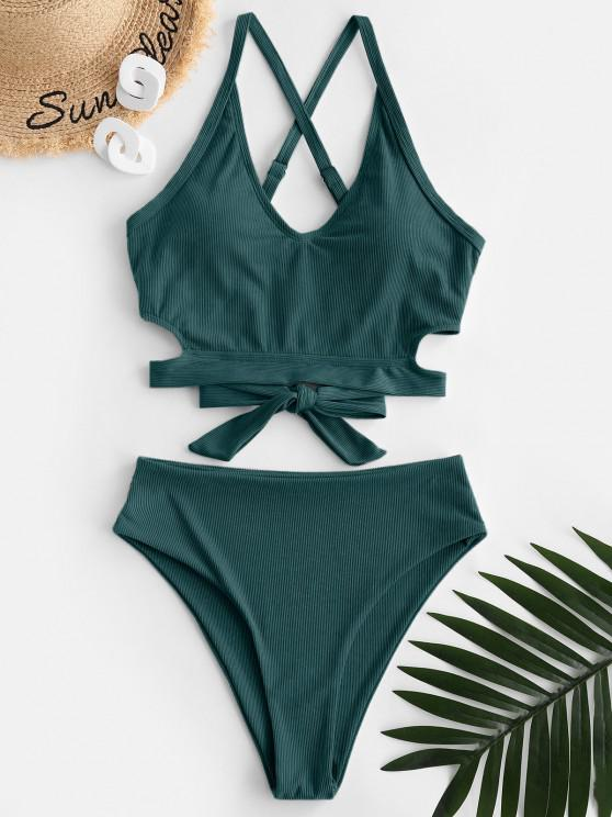 womens ZAFUL Ribbed Criss Cross High Waisted Tankini Swimwear - DEEP GREEN M