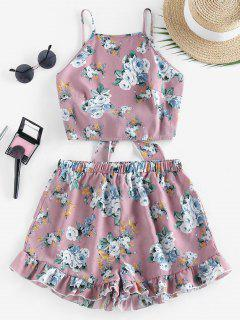 ZAFUL Flower Tie Back Ruffle Wide Leg Shorts Set - Khaki Rose S