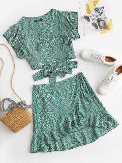Vestido Ajustado De Dos Piezas Con Volantes Con Estampado De Ditsy - Verde M