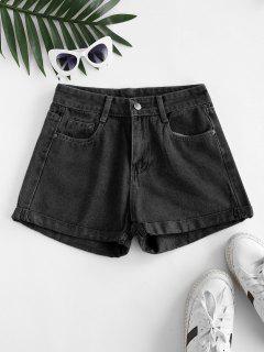 High Waisted Cuffed Hem Denim Shorts - Black L
