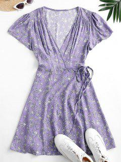 Robe Fleurie à Manches Bouffantes - Violet Clair S