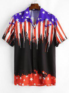 American Flag Design Casual Shirt - Black Xl
