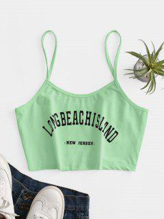 Letter Graphic Crop Cami Top - Green M