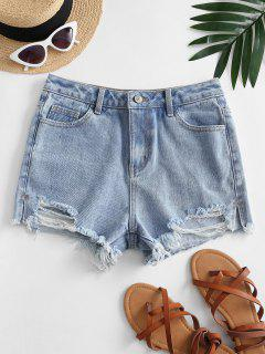 Destroyed Frayed Hem Denim Cutoff Shorts - Blue M