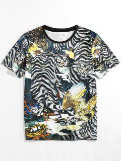 ZAFUL Animal Print Round Neck Oriental T-shirt - Black L