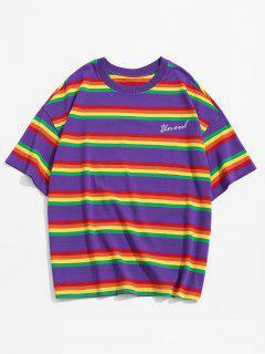 Rainbow Striped Letter Embroidery T Shirt - Purple Iris 4xl