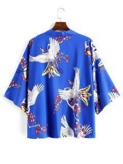 Flying Crane Floral Oriental Kimono Cardigan - Blue 2xl