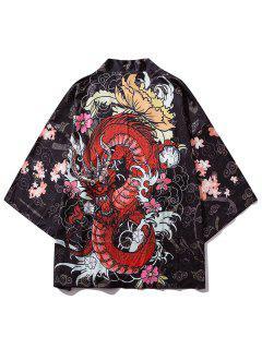Floral Dragon Print Oriental Kimono Cardigan - Black M