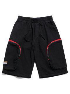 Side Zipper Pockets Drawstring Cargo Shorts - Black 2xl