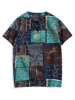 Embroidery Design Painting Print T-shirt - Black 2xl