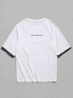 T-shirt Décontracté Lettre Imprimée Manches Avec Revers - Blanc 3xl