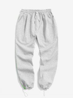 Contrast Trim Elastic Waist Sweatpants - Platinum 2xl