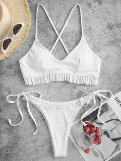ZAFUL Ribbed Criss Cross Frilled Tie Bikini Swimwear - White S
