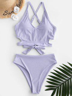 ZAFUL Ribbed Criss Cross High Waisted Tankini Swimwear - Light Purple 2xl
