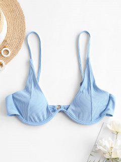 Bikini Top Acanalado Con Aros - Azul Claro S
