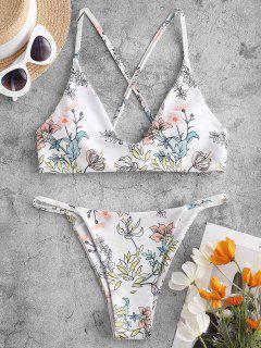 ZAFUL Plant Print Criss Cross Bikini Swimwear - Multi-a L