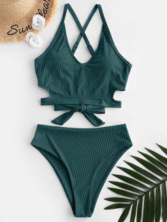 ZAFUL Ribbed Criss Cross High Waisted Tankini Swimwear - Deep Green M