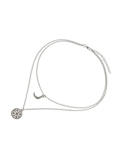 shops Double Layer Moon Flower Chain Necklace - SILVER  Mobile