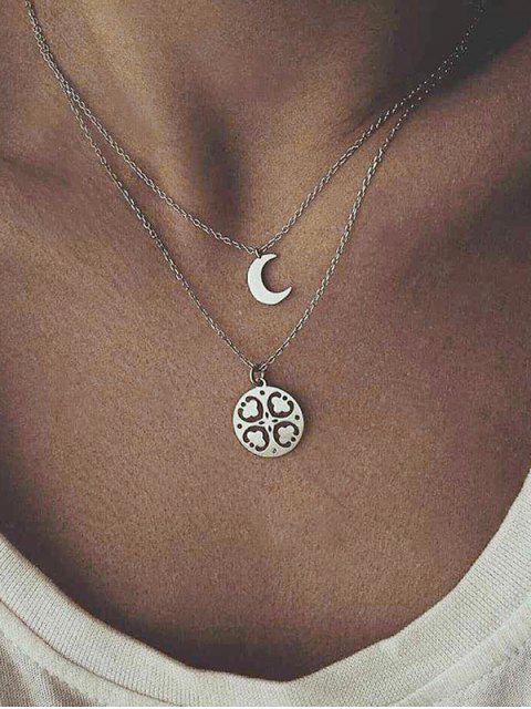 CollieràChaîne Fleur Lune Double Couches - Argent  Mobile
