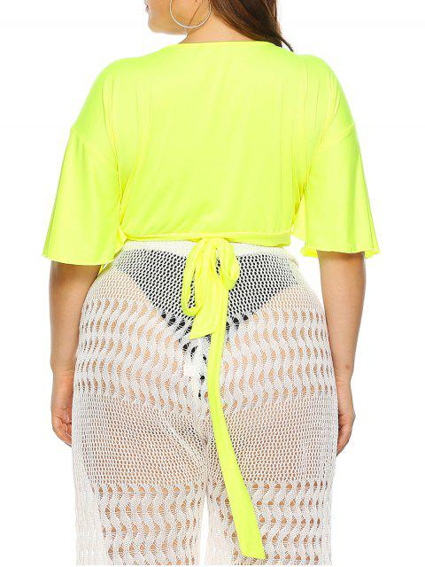online Plus Size Neon Flutter Sleeves Cropped Wrap Cover Up Top - GREEN YELLOW 2X Mobile