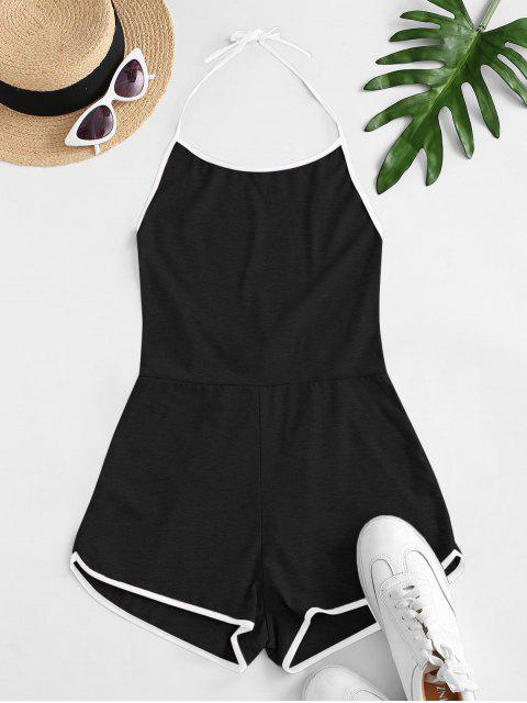 ladies Halter Tie Back Ringer Romper - BLACK L Mobile