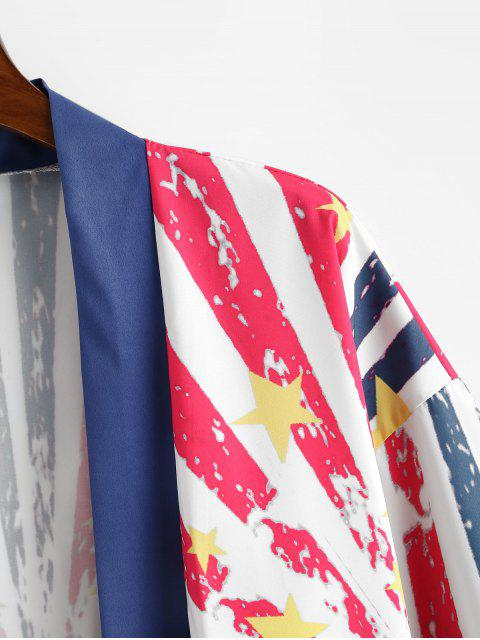 fashion Casual American Flag Print Shirt - DEEP BLUE L Mobile