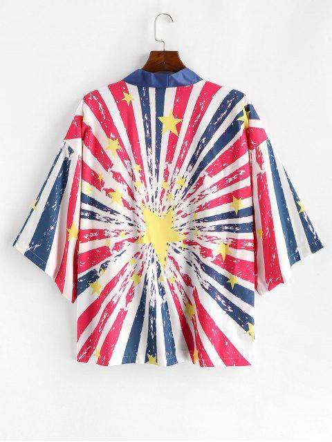 Camisa Casual de Estampado de Bandera Americana - Azul Profundo XL Mobile