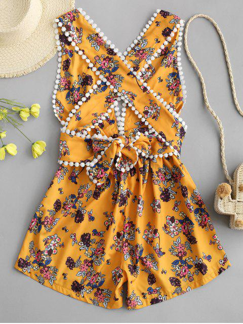 Mono Femenino Floral Minúsculo con Tiras Cruzadas - Amarillo S Mobile