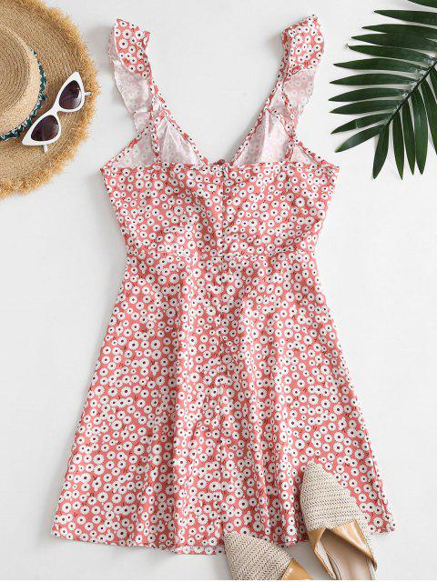 womens Ditsy Floral Ruffles Cinched Mini Dress - LIGHT PINK L Mobile