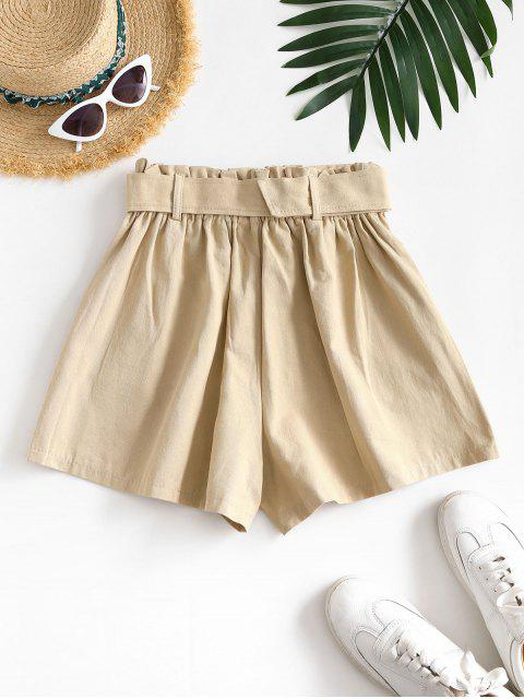 hot Slant Pockets Buckle Belted Paperbag Shorts - LIGHT COFFEE XL Mobile