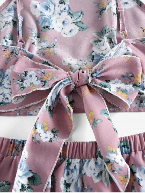 best ZAFUL Flower Tie Back Ruffle Wide Leg Shorts Set - KHAKI ROSE S Mobile