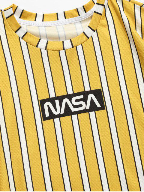T-Shirt con Maniche Corte a Righe e Stampa a Lettera - Giallo M Mobile