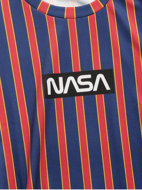 T-Shirt con Maniche Corte a Righe e Stampa a Lettera - Profondo blu M Mobile