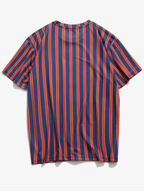 T-Shirt con Maniche Corte a Righe e Stampa a Lettera - Profondo blu XL Mobile