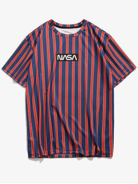T-Shirt con Maniche Corte a Righe e Stampa a Lettera - Profondo blu 2XL Mobile