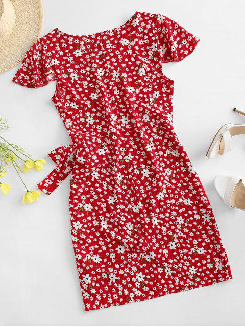 latest Flutter Sleeve Tie Waist Tiny Floral Dress - RED L Mobile
