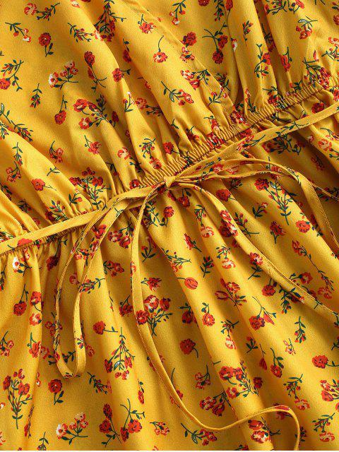 Flattern Ärmel Ditsy Blumen Minikleid mit Gürtel - Dunkel gelb XS Mobile