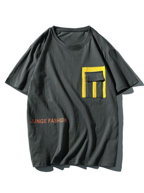 Letter Print Contrast Pocket Patch T-shirt - اللون الرمادي 3XL Mobile
