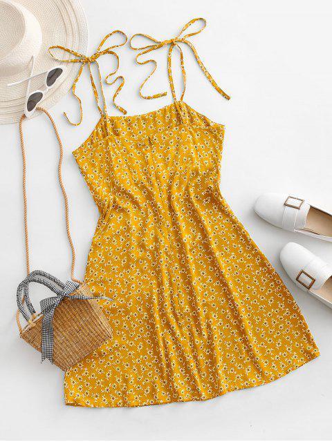 ZAFUL Gebundenes Schulter Winzige Blumen Minikleid - Gelb S Mobile