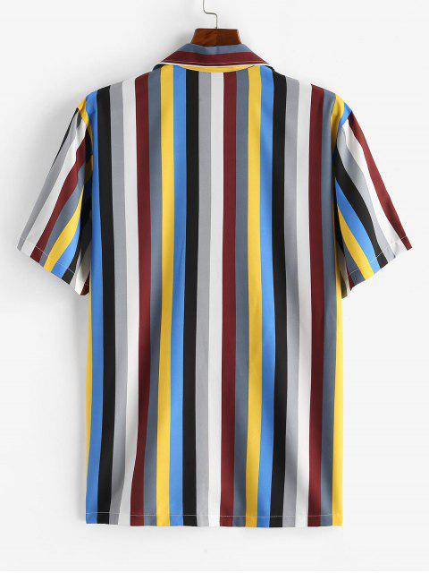 new Colorful Striped Printed Button Shirt - COFFEE XL Mobile