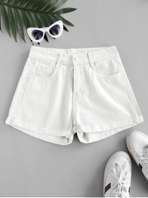 shops High Waisted Cuffed Hem Denim Shorts - WHITE 2XL Mobile
