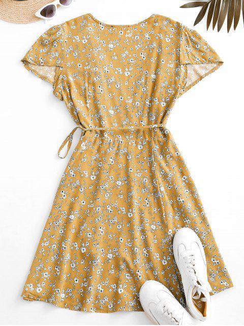 Flattern Ärmel Ditsy Blumen Wickelkleid - Gelb S Mobile