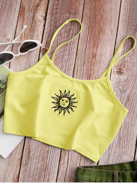 Sonnen Bestickte Ernte Cami Top - Gelb M Mobile