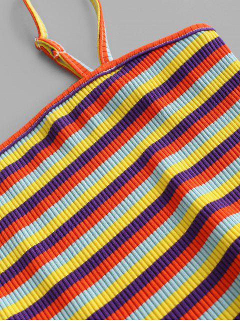 affordable ZAFUL Ribbed Colorful Stripes Layered Hem Two Piece Set - MULTI-A M Mobile