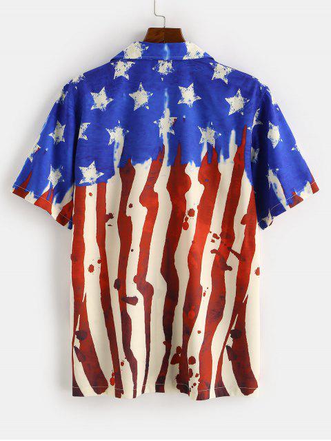 Amerikanische Flagge Gedrucktes Kurzarm Hemd - Blau 2XL Mobile
