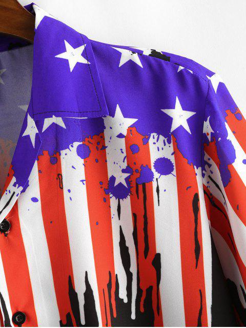 Camisa Casual con Estampado de Bandera de Estados Unidos - Negro S Mobile