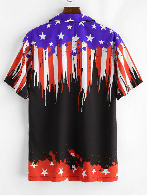 womens American Flag Design Casual Shirt - BLACK XL Mobile
