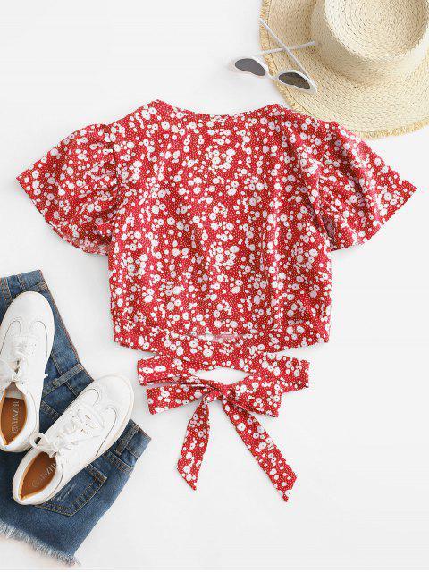 new Ditsy Print Surplice Tie Hem Crop Blouse - RED S Mobile