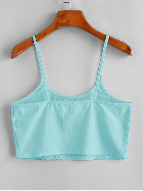 hot Sun Embroidered Crop Cami Top - LIGHT BLUE L Mobile
