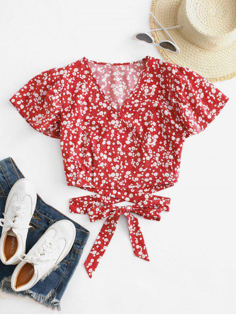 women's Ditsy Print Surplice Tie Hem Crop Blouse - RED L Mobile